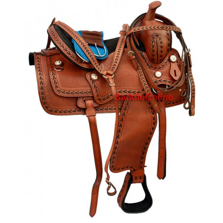 Hand Made Western Tooled Horse Pleasure Trail Saddle 16 17