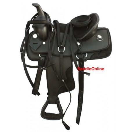Black Synthetic Saddle QH Bars Tack 14