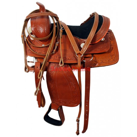 Hand Tooled Western Ranch Work Saddle Breast Collar 15.5