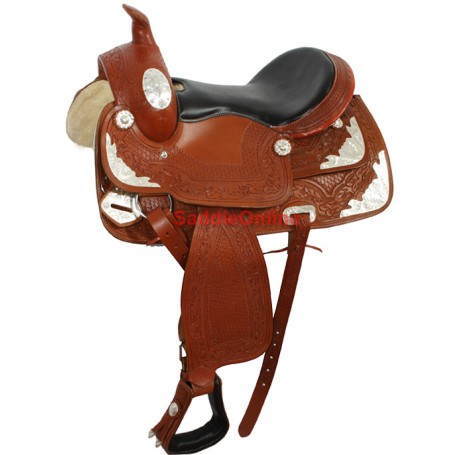 New Premium Brown Horse Show Silver Saddle 15.5