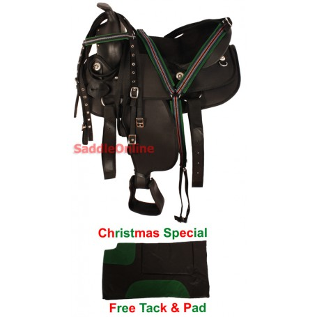 New 10 13 Black Synthetic Pony Western Texas Star Saddle