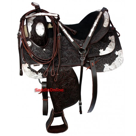 Exquisite Custom Made Brown Silver Show Saddle Tack 16