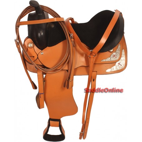 Tan 15 Economical Cross Western Trail Saddle Tack