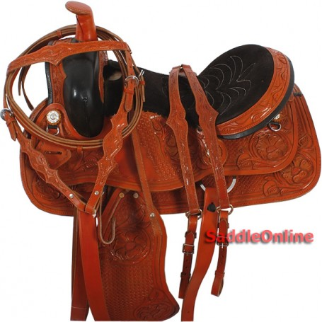 Hand Tooled Western Ranch Work Saddle Breast Collar 16