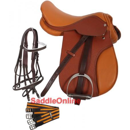 Tan English Tack Package All Purpose Saddle 15