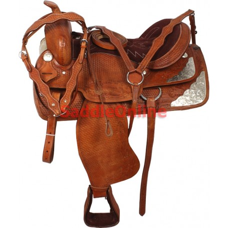 15 Hand Carved Western Pleasure Silver Show Saddle Tack