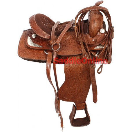 16 Tooled Brown Western Saddle Tack Package Silver