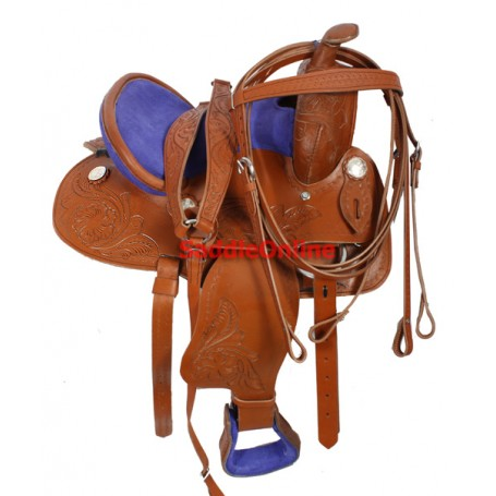 Blue Seat Kids Youth 11 Pony Western Barrel Racing Saddle