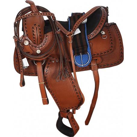 Hand Made Western Tooled Horse Pleasure Trail Saddle 16