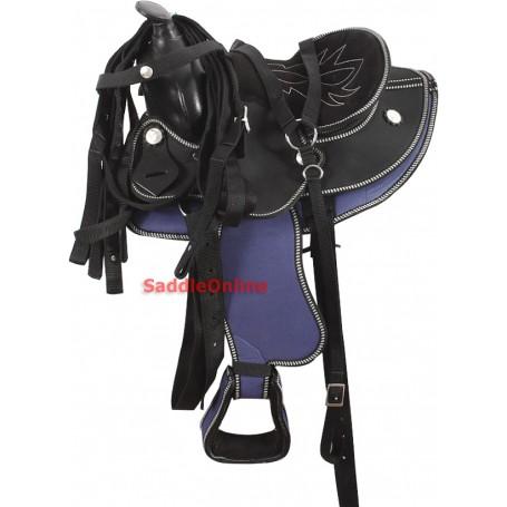 Miniature Horse 12 Blue Black Western Saddle Tack