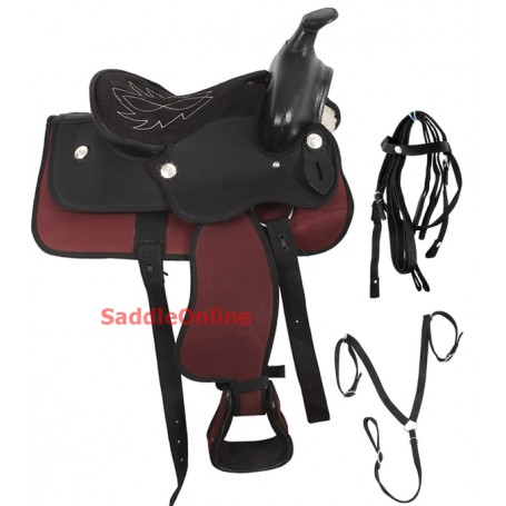 New 12 Pony Mini Red Black Western Horse Saddle Tack