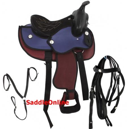 New 10 Pony Mini Red Blue Western Horse Saddle Tack