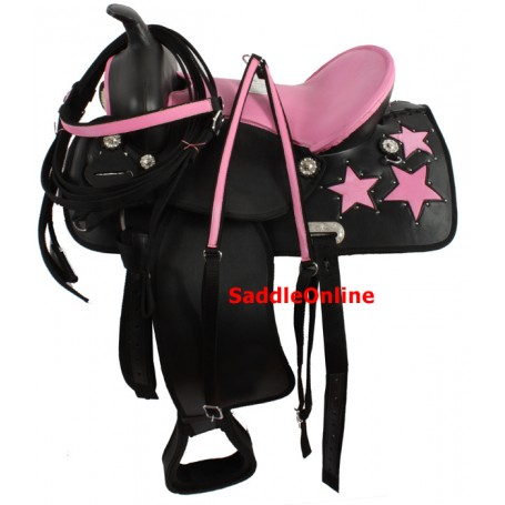 16 Beautiful Pink Black Cordura Saddle W Tack