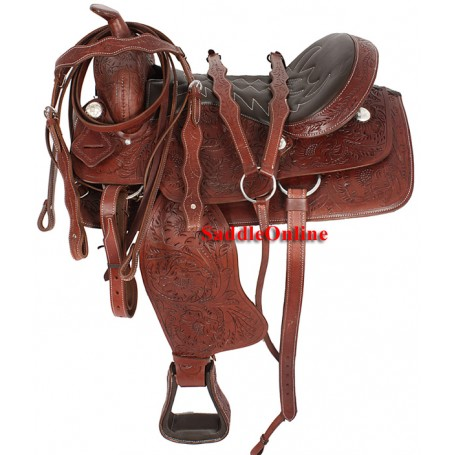 Premium Brown Tooled Saddle Cow Softy Seat