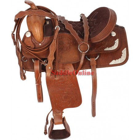 Brown Western Tooled Show Saddle Tack 17