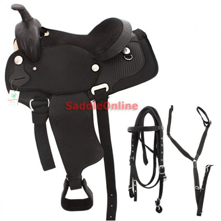 16 Black Synthetic Leather Western Tooled Saddle