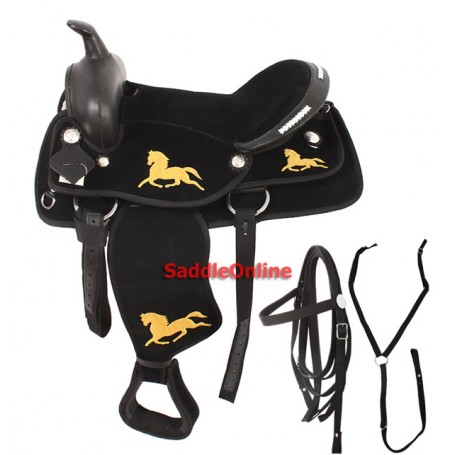 Black Synthetic 16 Western Show Saddle