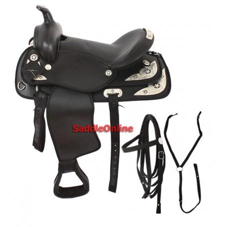 Black Synthetic 16 Western Show Saddle
