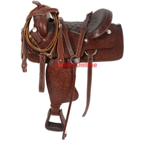 Floral Tooled Western Trail Ranch Work Saddle 17