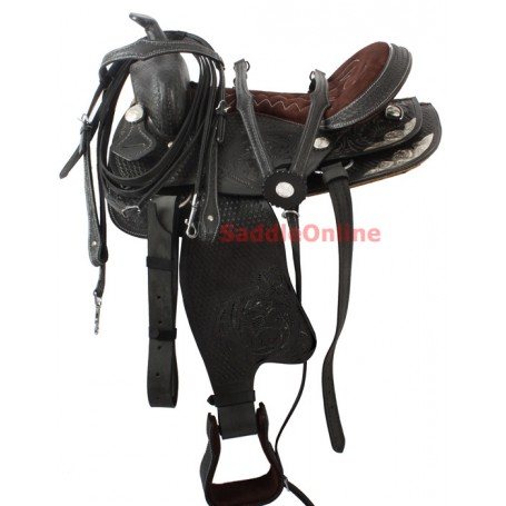 Black Western Show Horse Saddle Hand Carved 15