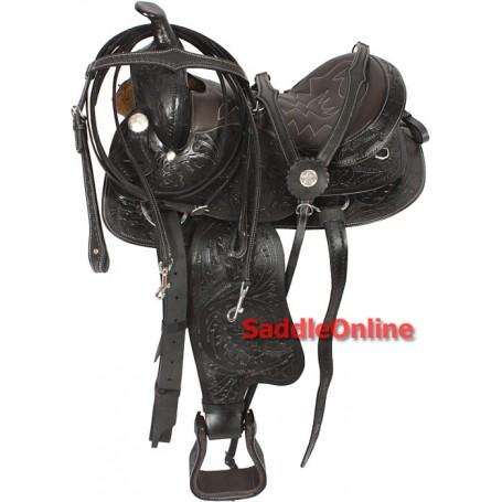 Tooled Black Western Horse Trail Saddle Tack 16