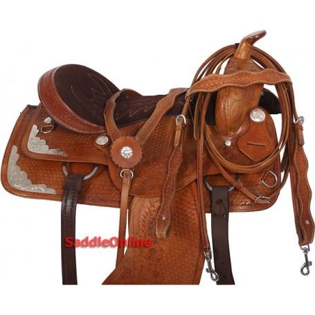 Premium Horse Western Trail Saddle & Tack Set 15 16 17 18