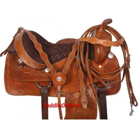 Premium Brown Western Trail Horse Saddle 15 16 17 18