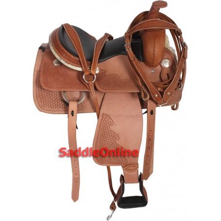 Natural Tooled Western Leather Saddle 15