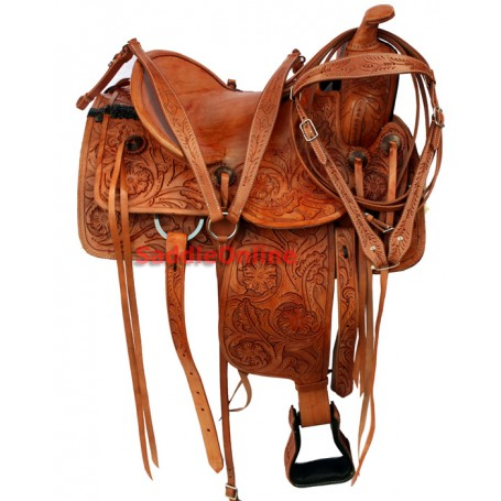 Premium Hand Tooled Western Ranch Work Saddle 16