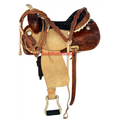 Two Tone Rough Out Barrel Racing Saddle Rawhide Horn 16
