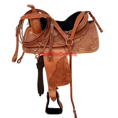 15 Western Tooled Leather Trail Saddl Tack Set