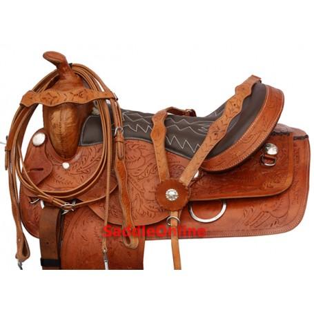 18 Western Leather Trail Saddle Tooled