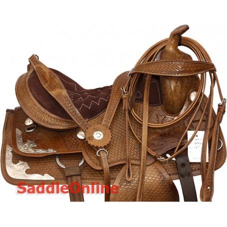 15 Western Leather Trail Saddle Tooled