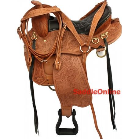 16 QH Leather Endurance Western Trail Saddle Tack set