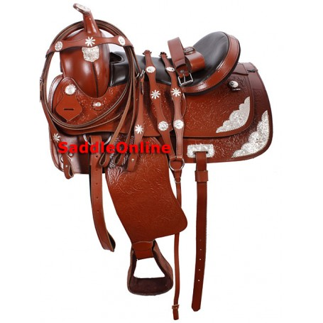 Tan Western Horse Show Saddle Headstall Reins 16
