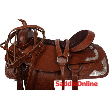 Western Brown Tooled Show Horse Saddle Tack Package 17
