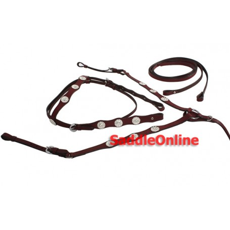 New Show Headstall Reins Breast Collar Horse Size Tack Set