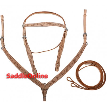 New Carved Headstall Reins Breast Collar Horse Size Tack Set