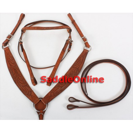 New Trail Headstall Reins Heavy Breast Collar Horse