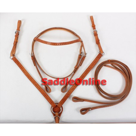 Premium Headstall Reins Breast Collar Tack Set