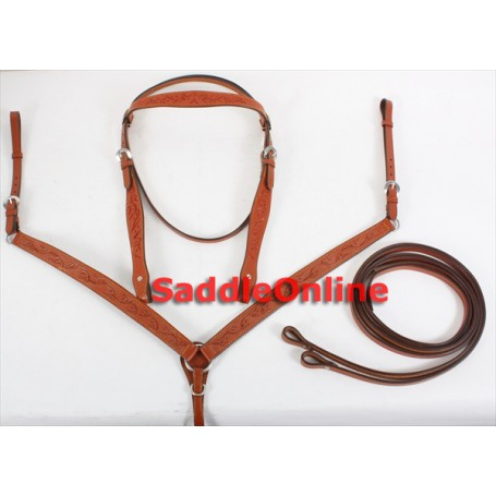 New Tooled Tan Headstall Reins Breast Collar Tack Set