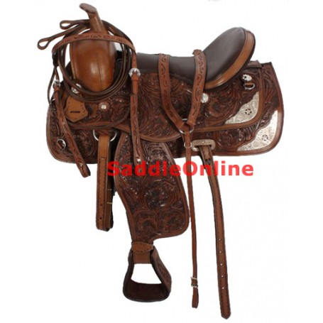 Brown Leather Seat Tooled Texas Star Show Saddle