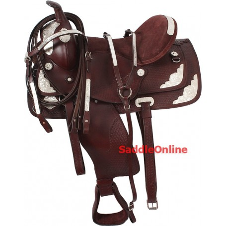 Brown Western Show Saddle Tooled Silver Tack 16