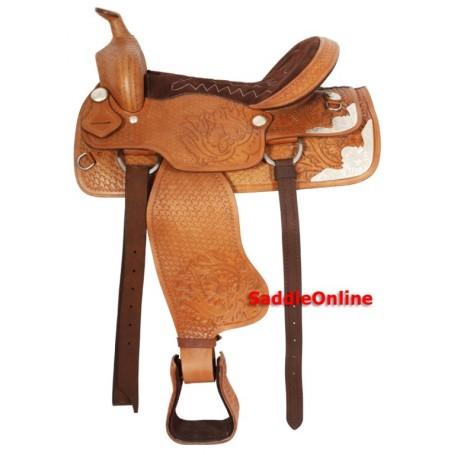 Tan Western Tooled Trail Leather Horse Saddle 15