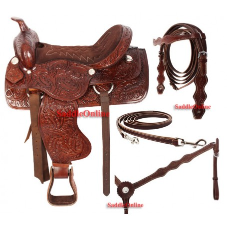Premium Western Hand Carved Trail Saddle 15 16