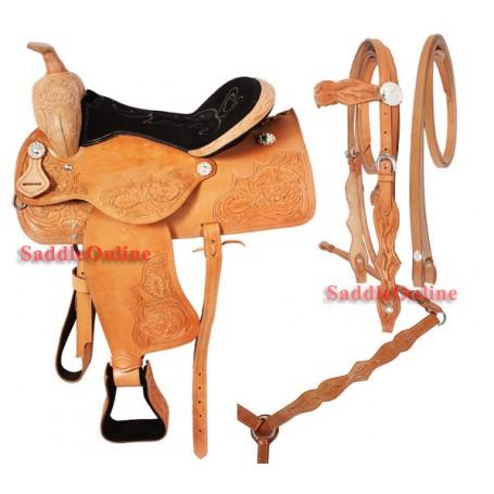 Western Pleaseure Leather Horse Saddle Tack 16 17
