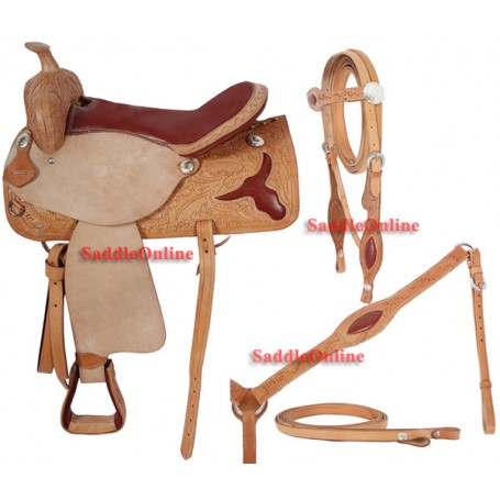 Western Horse Saddle Red Seat Texas Long Horn 16 17