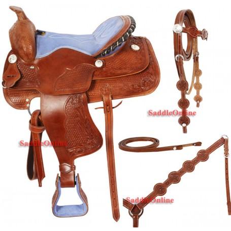 Western Leather Horse Blue Saddle Tack 16