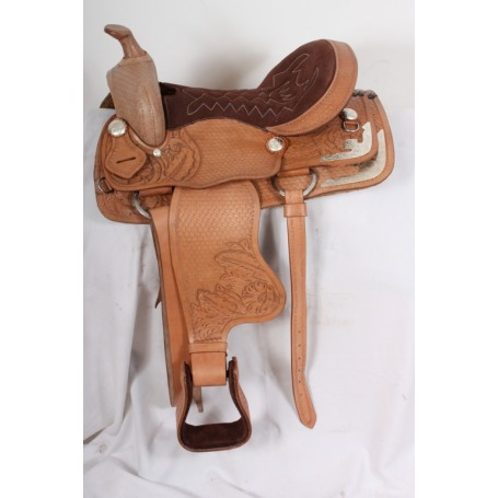 Western Show Leather Hand Carved Saddle Tack 15