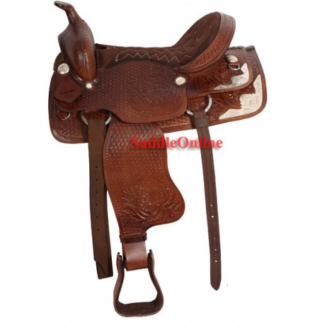 Brown Western Pleasure Trail Show Saddle Tack 17 18